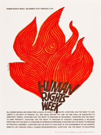 """Human Rights Week by Saul Bass (UNESCO, 1965). Poster (18"""" X 24"""")"""