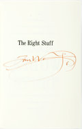 Books:Literature 1900-up, [Featured Lot] Tom Wolfe. SIGNED. The Right Stuff. New York:Farrar Straus Giroux, [1979]. First edition. Signed b...