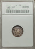 Coins of Hawaii: , 1883 10C Hawaii Ten Cents VF20 ANACS. NGC Census: (12/429). PCGS Population (31/639). Mintage: 250,000. ...
