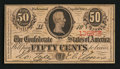 Confederate Notes:1863 Issues, T63 50 Cents 1863 PF-2.. ...