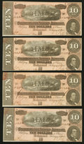 Confederate Notes:1864 Issues, T68 $10 1864 PF-44 Cr. 552. Four Examples. ... (Total: 4 notes)