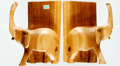 Books:Furniture & Accessories, [Bookends]. Matching Pair of Wooden Hand-Carved Elephants. Ca.1970s. Each with raised trunks and supporting a carved book. ...(Total: 2 Items)
