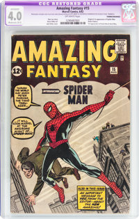 Amazing Fantasy #15 Trimmed/Married (Marvel, 1962) CGC Apparent VG 4.0 Moderate (B-3) Off-white pages