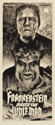 Frankenstein Meets the Wolf Man by Elvisdead (Mondo, 2014). Numbered Limited Edition Glow-in-the-Dark Screen Print (16&q...
