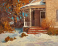 Fine Art - Painting, American:Modern  (1900 1949)  , DONALD F. RICKS (American, 1929-1996). Winter Home. Oil oncanvas. 24-1/4 x 30 inches (61.6 x 76.2 cm). Signed lower rig...