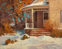 DONALD F. RICKS (American, 1929-1996) Winter Home Oil on canvas 24-1/4 x 30 inches (61.6 x 76.2 c