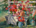 Fine Art - Painting, American:Modern  (1900 1949)  , DONALD F. RICKS (American, 1929-1996). Dahlias and Daisies.Oil on canvas. 28 x 36 inches (71.1 x 91.4 cm). Signed lower...