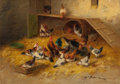 Fine Art - Painting, European:Antique  (Pre 1900), CHARLES BERTAULD (French, 19th Century). Feeding Time. Oilon canvas. 18-1/4 x 25-1/2 inches (46.4 x 64.8 cm). Signed lo...