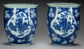 Asian:Chinese, A PAIR OF CHINESE PORCELAIN BLUE AND WHITE JARDINIÈRES . 13 incheshigh x 10-3/4 inches diameter (33.0 x 27.3 cm). ... (Total: 2Items)