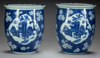 A PAIR OF CHINESE PORCELAIN BLUE AND WHITE JARDINIÈRES 13 inches high x 10-3/4 inches diameter (33.0 x 27.3 cm)