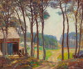 Fine Art - Painting, American:Modern  (1900 1949)  , HAROLD C. DUNBAR (American, 1882-1953). Old Shed at ForestClearing. Oil on board. 21 x 24 inches (53.3 x 61.0 cm).Sign...