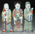 Asian:Chinese, THREE CHINESE FAMILLE ROSE PORCELAIN IMMORTALS,. Marks to eachunderfoot: (four-character mark). 23 inches (tallest) (58.4 c...(Total: 3 Items)