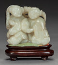 Asian:Chinese, A CHINESE JADE FIGURAL GROUP ON STAND, Qing dynasty. 2-3/4 x 2-1/2x 1-1/8 inches (7.0 x 6.4 x 2.9 cm) (including base). ...