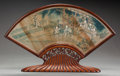 Asian:Chinese, A CHINESE PAINTED FAN AND YELLOW ROSEWOOD STAND ATTRIBUTED TO JIAOBING ZHEN, Qing dynasty. Marks: (chop marks). 12-3/4 inch...(Total: 2 Items)