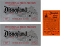 Movie/TV Memorabilia:Documents, A Pair of Tickets for the Opening Day 'Invitational Press Previewand Dedication of Disneyland,' 1955....