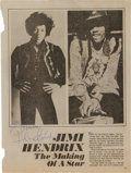 Music Memorabilia:Autographs and Signed Items, Jimi Hendrix Signed Magazine Page....
