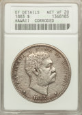 Coins of Hawaii: , 1883 $1 Hawaii Dollar -- Corroded -- ANACS. XF Details, Net VF20.NGC Census: (2/376). PCGS Population (1/672). Mintage: 50...