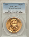 1980 Medal Grant Wood, One-Ounce Gold, MS67 PCGS....(PCGS# 20501)