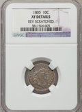 Early Dimes, 1805 10C 4 Berries, JR-2, R.2 -- Reverse Scratched -- NGC Details.XF. ...