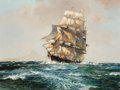 Fine Art - Painting, American, LESLIE ARTHUR WILCOX (British, 1904-1982). The American ClipperFlying Eagle, circa 1970. Oil on canvas. 30 x 40 inches ...