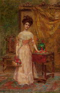 Paintings, LETITIA BONNET HART (American, 1866-1953). The Basket of Roses. Oil on canvas. 23 x 15 inches (58.4 x 38.1 cm). Signed l...