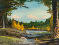ROBERT WILLIAM WOOD (American, 1889-1979) The Three Sisters, Cascade Range Oil on canvasboard 22