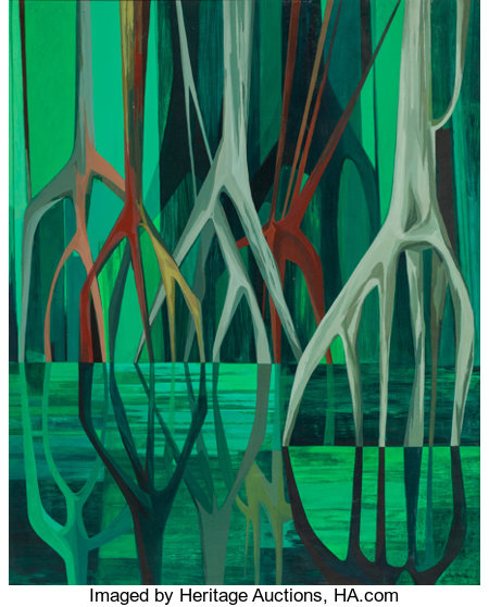 JOHN (HANNS) SKOLLE (German/American, 1903-1988) Mangroves, 1969 Oil on board 36 x 29 inches (91.4 x 73.7 cm) Signed...