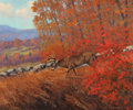 Paintings, ROBERT SLEICHER (American, b. 1927). Autumn Whitetail. Oil on masonite. 10 x 12 inches (25.4 x 30.5 cm). Signed lower ri...