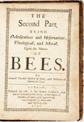 Books:Natural History Books & Prints, [Samuel Purchas. A Theatre of Political Flying Insects. London: Thomas Parkhurst, 1657]. Two parts in one volume...