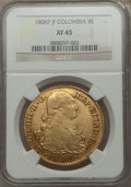 Colombia, Colombia: Charles IV gold 8 Escudos 1806 P-JF XF45 NGC,...