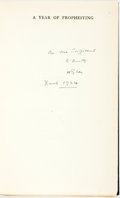 Books:World History, H.G. Wells. INSCRIBED. A Year of Prophesying. London: T.Fisher Unwin, [1924]. Second impression. Inscribed by the...