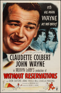 """Without Reservations (RKO, R-1953). One Sheet (27"""" X 41""""). Comedy"""