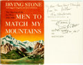 Books:Americana & American History, Irving Stone. INSCRIBED. Men to Match My Mountains. GardenCity: Doubleday, [1956]. Early printing. Inscribed by t...