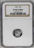 Proof Roosevelt Dimes: , 1954 10C PR68 Cameo NGC. NGC Census: (90/7). PCGS Population(16/1). (#85229)...