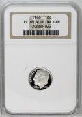 Proof Roosevelt Dimes: , 1960 10C PR69 W Deep Cameo NGC. NGC Census: (54/0). PCGS Population(112/0). Numismedia Wsl. Price: $300.(#95235)...
