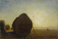 Fine Art - Painting, European:Antique  (Pre 1900), Ascribed to ANTON MAUVE (Dutch 1838-1888). Haystacks atSunrise. Oil on canvas. 12 x 18 inches (30.5 x 45.7 cm). Signed...