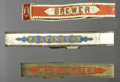 "Western Expansion:Cowboy, LOT OF 3 19th CENTURY FIREMEN""S PARADE BELTS - . a) ""Brewer"", redwith white, 2¼ wide; cracked finish.. b) ""Manchest... (Total: 3Items)"