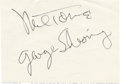 Music Memorabilia:Autographs and Signed Items, Mel Tormé and George Shearing Autographs. A card signed by MelTormé and his pianist George Shearing from the late '70s, bot...(Total: 1 Item)