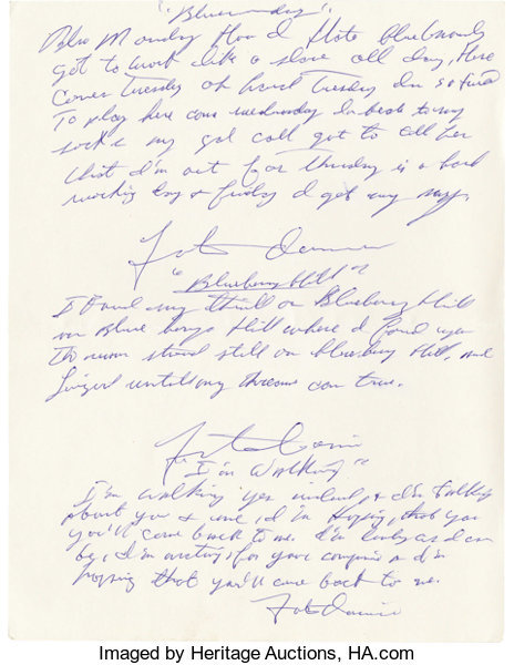 Fats Domino Handwritten and Signed Song Lyrics. A sheet of 8.5