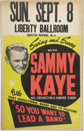 "Music Memorabilia:Posters, Sammy Kaye Vintage Poster. A vintage 14"" x 22"" poster advertisingSammy Kaye and His Orchestra, in Very Good to Fine conditi...(Total: 1 Item)"