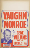 "Music Memorabilia:Posters, Vaughan Monroe Vintage Poster. A vintage 14"" x 22"" poster featuringVaughan Monroe, as well as Gene Williams and His Orchest... (Total:1 Item)"