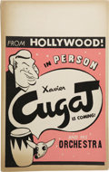 "Music Memorabilia:Posters, Xavier Cugat Vintage Poster. A vintage 14"" x 22"" poster featuringXavier Cugat and His Orchestra, in Very Good to Fine condi...(Total: 1 Item)"