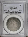 Early Half Dollars: , 1807 50C Draped Bust VF25 PCGS. PCGS Population (57/477). NGCCensus: (0/688). Mintage: 301,076. Numismedia Wsl. Price: $41...
