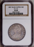 Bust Half Dollars: , 1807 50C Large Stars, 50 Over 20 VF30 NGC. O-112. NGC Census:(67/297). PCGS Population (14/150). Mintage: 750,500. Numisme...