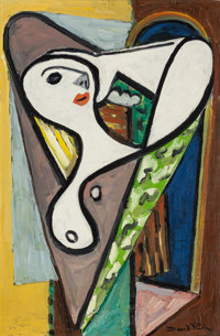 DAVID PARK (American, 1911-1960) White Faced Woman with Elbow, circa 1938-39 Oil on canvas 24 x 1