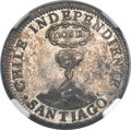 Chile, Chile: Republic Volcano 2 Reales 1834 Santiago-IJ MS65 NGC,...