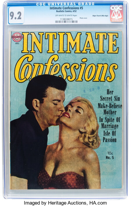 Intimate Confessions #5 Mile High pedigree (Realistic Comics, 1952) CGC NM- 9.2 Off-white to white pages....