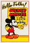 "Movie Posters:Animation, Mickey Mouse Stock Poster (Columbia, c. Early 1930s). One Sheet(28"" X 41"").. ..."