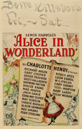 "Movie Posters:Fantasy, Alice in Wonderland (Paramount, 1933). Window Card (14"" X 22"")....."
