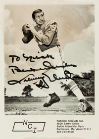[Featured Lot] Johnny Unitas Photograph Signed. No date. Measures 5 x 7 inches. Large dampstain to center and top edg